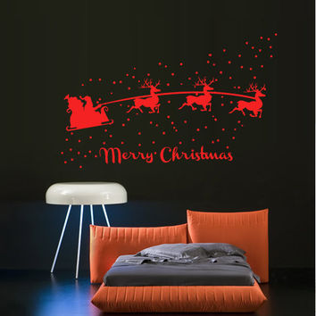 Wall Decal Vinyl Sticker Art Decor Sign Lettering Happy New Year Merry Christmas Tree Snow deer Santa team sled sky snow  Bedroom  (m1394)