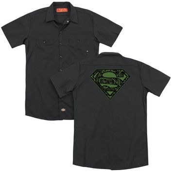 Superman - Circuits Shield (Back Print) Adult Work Shirt