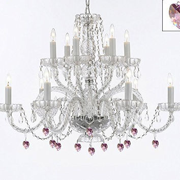Murano Venetian Style All Empress Crystal (Tm) Chandelier With Pink Crystal - A46-B21/385/6+6