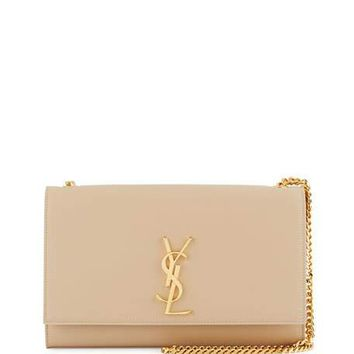 Saint Laurent Kate Monogram Medium Crossbody Bag, Beige