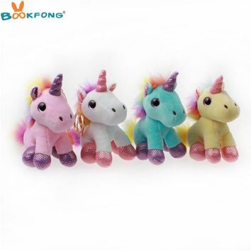 12cm Kawaii Horse Toy Cute Unicorn Plush Toy Keychain Pendant Stuffed Animal Plush Key Chain Toys For Children Birthday Gift