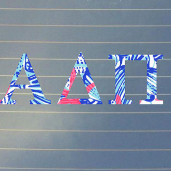 Lilly Pulitzer Inspired Alpha Delta Pi Car Decal | Alpha Delta Pi Car Sticker | Alpha Delta Pi Sorority | Alpha Delta Pi Laptop | 182