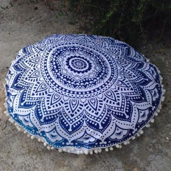 Indian Large Mandala Floor Pillows Round Bohemian Cushion Cover