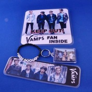The Vamps gift bundle, door sign, keyring, bracelet and bookmark -great gift