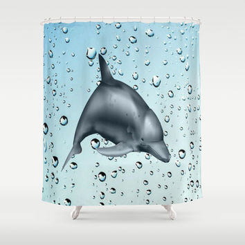 Swimming Dolphin Shower Curtain by Colorful Art