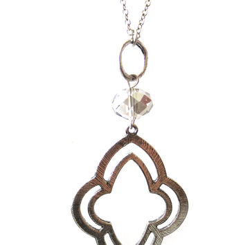Moroccan Pattern Silver Charm Long Necklace
