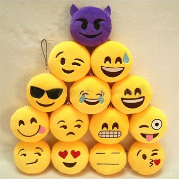 Fashion Emoji Emoticon Smiley/Funny Face Keychain Pendant Key Chain  Toy Bag Accessory Holder Key ring Soft For Woman Man