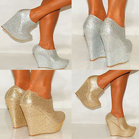 WOMENS GOLD PLATFORM GLITTER SPARKLY HIGH WEDGES SHOES HEELS ANKLE  BOOTS