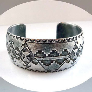 Native American Indian Sterling Silver Cuff  Bracelet