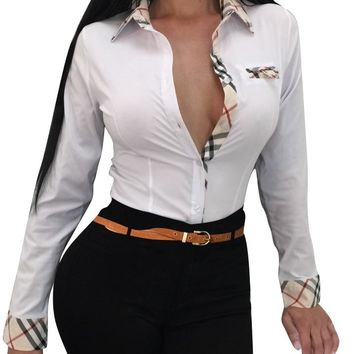 Office Patchwork Blouse with Collar
