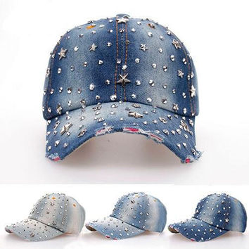 2015New arrived girls fashion Outdoors adjustable Hat All over the sky star drill cowboy baseball cap snapback hat Drop shipping
