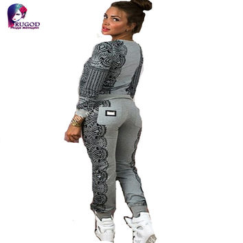 Autumn Woman's tracksuit famous Brand sweatshirt+pants 2 Piece set Women Metal Mark Decoration Pant Suits Suit Set Tracksuits