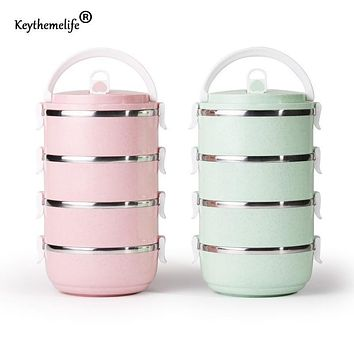 Keythemelife Japanese Lunch boxs Thermo Food containers for Kids Thermal Bento Lunchbox Platic PP+304 Stainless Steel E1