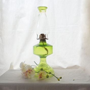 Vintage Green Glass Oil Lamp, 1930's Large Glass Lantern, Spring Green Pressed Glass Light