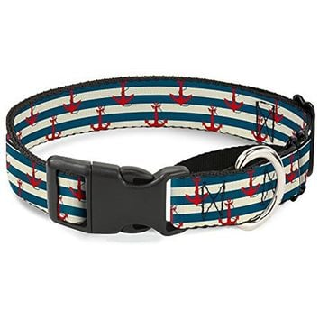 Buckle-Down Anchors with Stripes White Blue Red Martingale Dog Collar