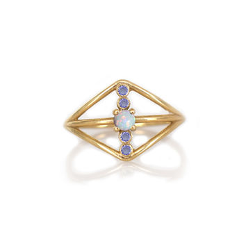 14kt Gold Opal and Tanzanite Warrior Shield Ring