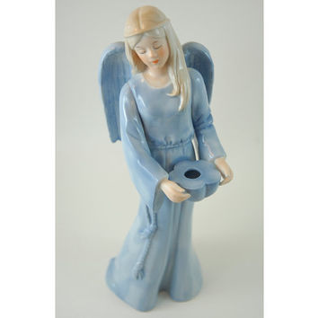 Vintage Porcelain Angel Figurine, 9 Inch tall Angel of Hope, Signed J Mcclelland, 1989 Reco