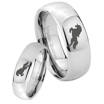 Bride and Groom Horse Mirror Dome Tungsten Carbide Mens Ring Set