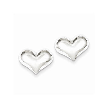Sterling Silver Polished Puff Heart Post Earrings