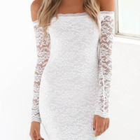 White Lace Choker Bodycon Dress B0013714