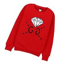 GUCCI Hot Sale Popular Women Men Casual Round Neck Letters Printed Loose Long Sleeve Sweater Top Red