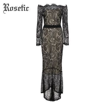 Rosetic Gothic Sexy Party Dress Women Hollow Backless See-Through Patchwork Lace Dress Fashion Retro Prom Victorian Goth Dress