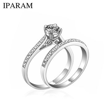 IPARAM Charm Silver Ring Women s Jewelry Crystal Wedding Jewelry Engagement  Head Panel Couple Ring Lover Size def9195d399a