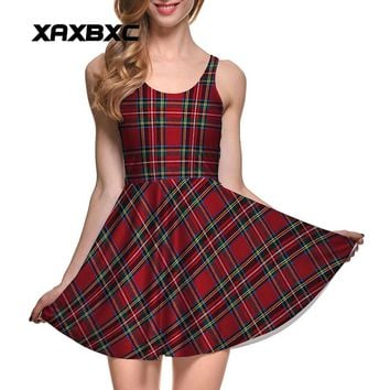 XAXBXC Plus Size Fashion Women Summer Reversible Pleated Dress Sexy Gril Vest Skater Dress Tartan Red Plaid Stripes Prints