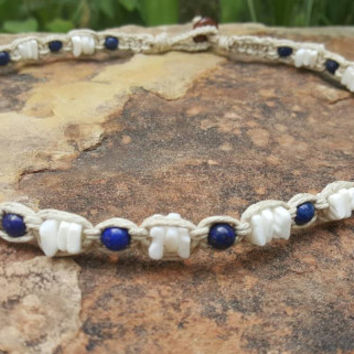 Mens Hemp Choker, Hemp Necklace, Puka Shell Necklace, Lapis Lazuli Necklace, Beach Jewelry, Handmade Necklace, Gift for Him, Surfer Choker