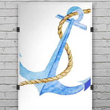 Painted Blue Summer Anchor - Ultra Rich Poster Print