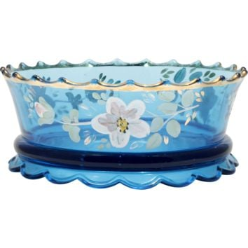 Jefferson Vogue Blue EAPG Bowl Scalloped Skirt Enameled Flowers Antique Glass
