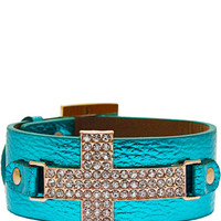Protect Me Always Cross Bracelet in Metallic Blue – bandbcouture.com
