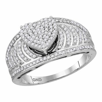 10kt White Gold Womens Round Diamond Elevated Heart Cluster Bridal Wedding Engagement Ring 1/2 Cttw