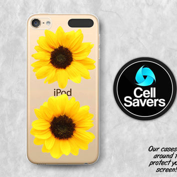 Sunflower Clear iPod 5 Case iPod 6 Case iPod 5th Generation iPod 6th Generation Rubber Case Gen Clear Case Yellow Flower Tumblr Floral Cute