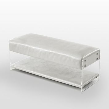Crowe Galileo White Croc Leather Bench - Acrylic Sides | Bottom Shelf | by Inspired Home - Walmart.com