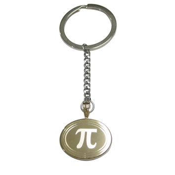Gold Toned Etched Oval Mathematical Pi Symbol Pendant Keychain
