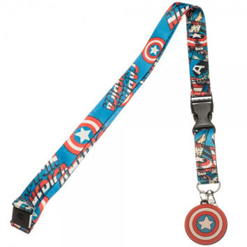 Marvel Captain America Comic Shield Logo ID Holder & Charm Lanyard