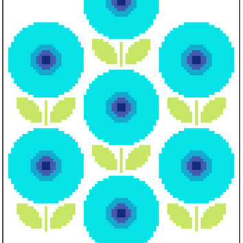 Ring of blue retro flowers. Contemporary cross stitch. Modern cross stitch pattern.