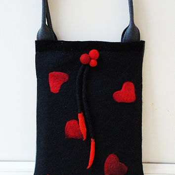 SALE HOLIDAY Medium Tote with Red Hearts. Handmade Wool cloth tote bag. Shoulder tote felt bag. Valentine. Red heart. Size for 11""