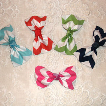 Preppy Chevron ZigZag Fabric Hair Bow Barrette - Large in 5 Colors