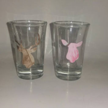 Buck and doe shot glasses, set of brown and pink deer silhouette shot glasses