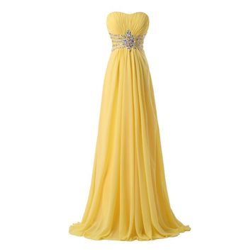 Free Shipping Grace Karin Strapless Chiffon Formal Party Dress Long Evening Dresses Yellow Floor Length Prom Gowns 6002