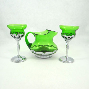 Vintage Glass and Chrome Juice Pitcher and Glasses