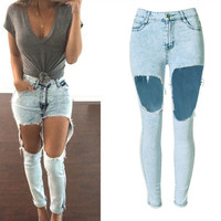 Light Blue Snow Design Big Hole Jeans