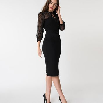 Vixen by Micheline Pitt Black Polka Dot Frenchie Wiggle Dress