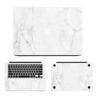 "Milk White Marble Laptop  Full Body Cover Sticker Set for Apple MacBook Air Pro Retina 11"" 13"" 15""  Notebook Case Decal Skin"