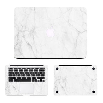 """Milk White Marble Laptop  Full Body Cover Sticker Set for Apple MacBook Air Pro Retina 11"""" 13"""" 15""""  Notebook Case Decal Skin"""