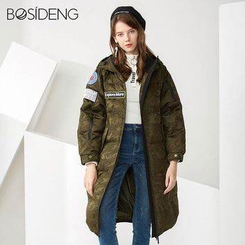 Women new deep winter goose down coat down parka X-Long jacket hooded camouflage color military