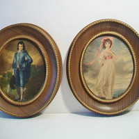 Vintage Pinkie and Blue Wall Decor Pictures Brown Oval Victorian Home Decor