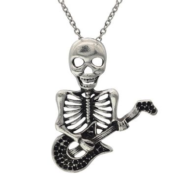 """Silver Tone 1.8""""X1.4"""" Play The Guitar Skull Pendant Necklace"""